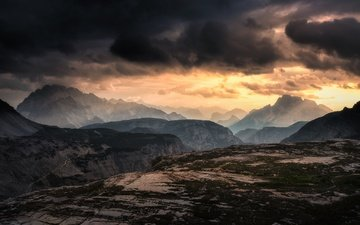 the sky, clouds, the evening, mountains, nature, landscape, sunset, italy, the dolomites