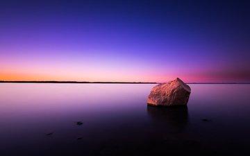water, sunset, sea, horizon, stone, surface
