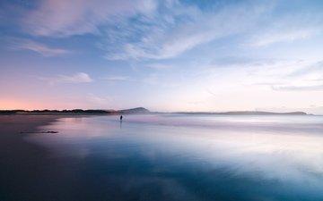 clouds, sunset, beach, horizon, people, coast, loneliness, the ocean