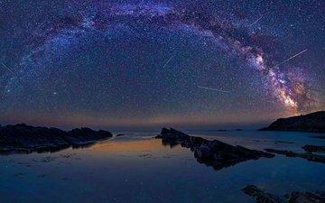 небо, ночь, скалы, море, звезды, млечный путь