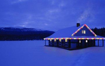 свет, ночь, снег, природа, зима, дом, рождество