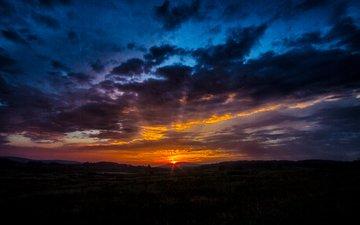 the sky, clouds, sunrise, sunset, horizon, dawn
