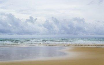 the sky, wave, sea, sand, beach, summer