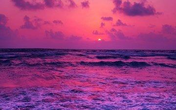 sunset, sea, horizon, surf, foam