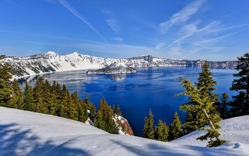 lake, mountains, snow, nature, forest, winter, mountain lake, crater lake