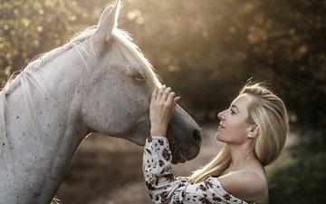 лошадь, девушка, настроение, блондинка, профиль, конь, грива