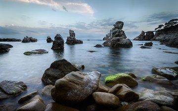 rocks, stones, shore, landscape, sea