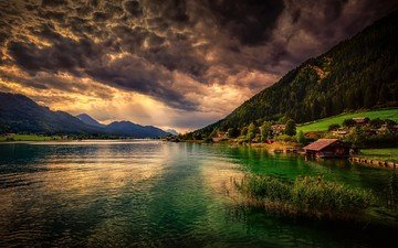 clouds, lake, sunset, mountain, houses, village