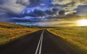 the sky, road, clouds, landscape