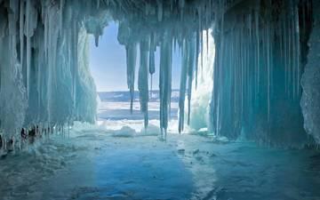 lake, nature, winter, ice, cave, icicles, the grotto, baikal, озеро байкал, остров ольхон
