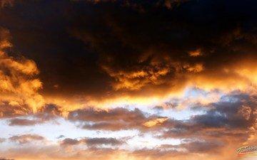the sky, nature, sunset, landscape, obloka, sunlight