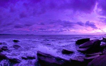 the sky, stones, sunset, the ocean