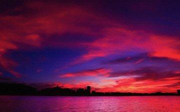 the sky, clouds, sunset, sea