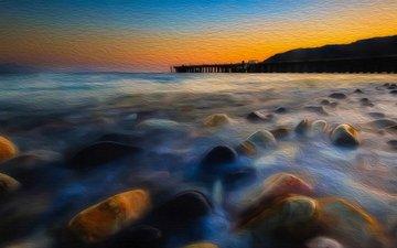 stones, sunset, landscape, sea, pierce, coast