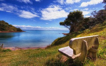 the sky, grass, clouds, lake, nature, tree, shore, landscape, sea, bay, bench