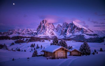 mountains, snow, winter, houses, village, italy, valley, south tyrol, the dolomites