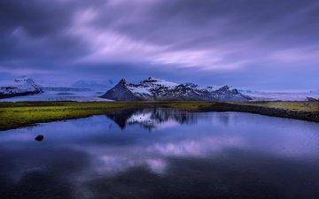 lake, mountains, snow, reflection, twilight, iceland