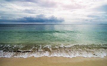 wave, sea, sand, beach, horizon
