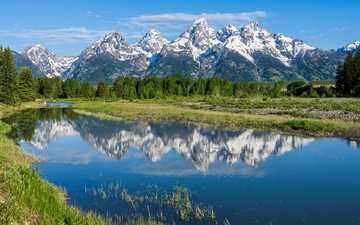 trees, river, mountains, reflection, rocky mountains, wyoming, snake river, the snake river, grand teton national park