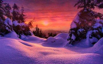 snow, sunset, winter, ate