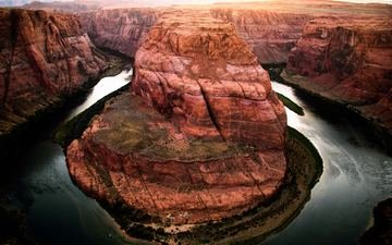 river, landscape, canyon, bending, horseshoe, the colorado river, the glen canyon