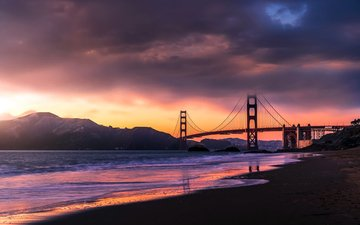 sunset, sea, bridge, san francisco, golden gate bridge, sanfrancicso