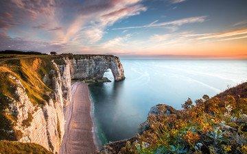the sky, rocks, nature, shore, sunset, sea, the ocean, france, étretat
