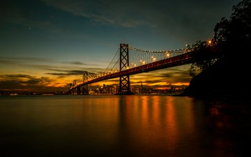 night, landscape, bridge, san francisco, ca, bay bridge
