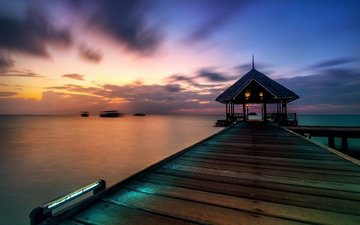 water, lake, shore, sunset, pierce, pier, gazebo, marina