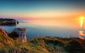 rocks, sunset, sea, coast, france, canyon, étretat
