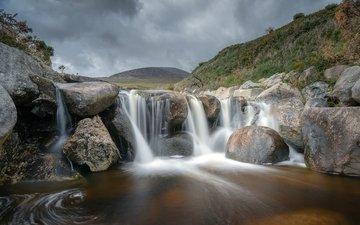 water, stones, waterfall