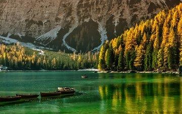 trees, lake, mountains, autumn, boat