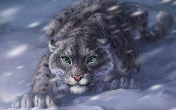 eyes, snow, winter, predator, ambush, painting, blizzard, snow leopard, irbis