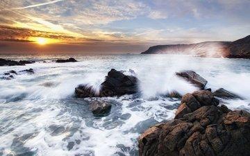 the sky, stones, wave, sea, the ocean