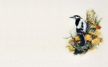 арт, дерево, минимализм, птица, живопись, дятел, zeng xiao lian