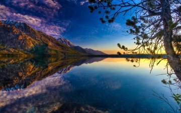 lake, mountains, branch, nature, tree