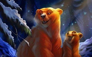 арт, ночь, лес, зима, медведь, медведи, медвеженок, by tehchan