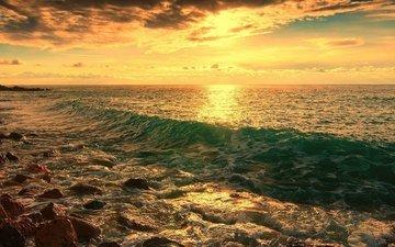 stones, shore, wave, sea, horizon, dawn, береговая линия.