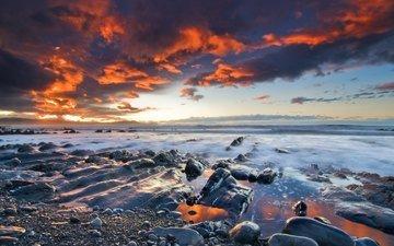 the sky, stones, shore, sunset, clouds, sea, coast