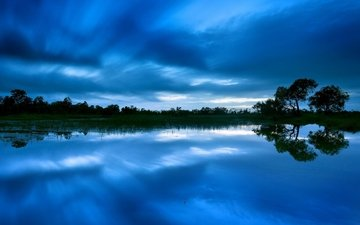 the sky, trees, water, the evening, lake, reflection