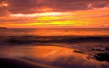 the sky, sunset, sea, sand, beach