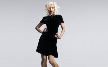певица, черное платье, кристина агилера