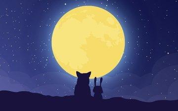 луна, минимализм, силуэты, волк, заяц, цифровое искусство