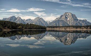 the sky, clouds, lake, mountains, reflection, wyoming, grand teton, grand teton national park