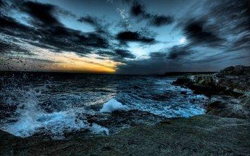 the sky, clouds, nature, sunset, landscape, sea