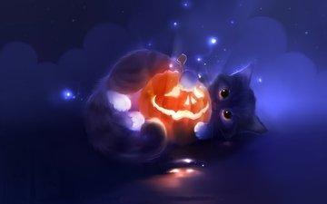 арт, кот, мордочка, кошка, котенок, хеллоуин, тыква