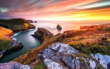 rocks, stones, sunset, sea, coast, england, боскасл