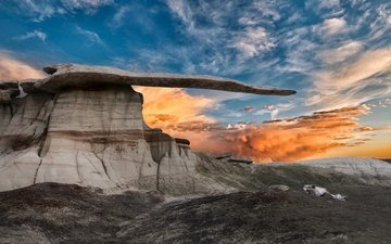 the sky, clouds, rock, desert