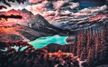 облака, деревья, озеро, горы, природа, пейзаж