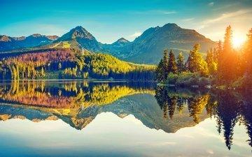 lake, mountains, reflection, autumn